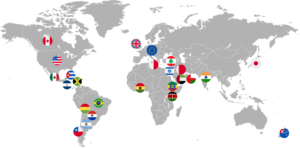 Map: Descartes supports security filing submissions across many countries throughout the world.
