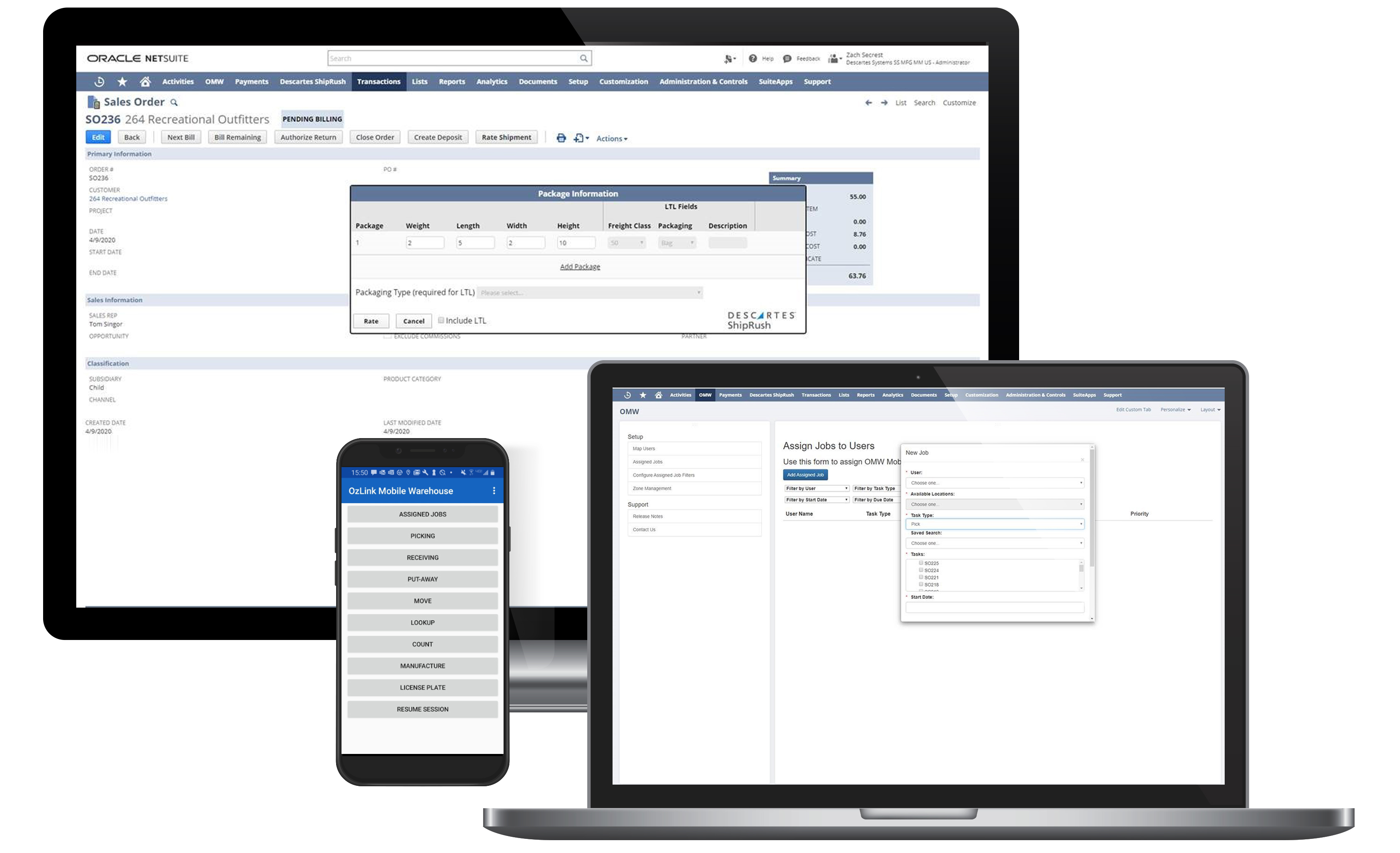A world-class mobile-enabled warehouse management system WMS NetSuite connected solution to optimize shipping